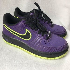 Nike Air Force 1 GS Shoes Purple Volt Youth 4Y